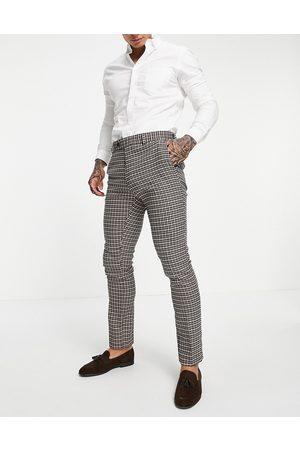ASOS Wedding - Pantalon de costume ajusté à motif pied-de-poule - Fauve-Neutre