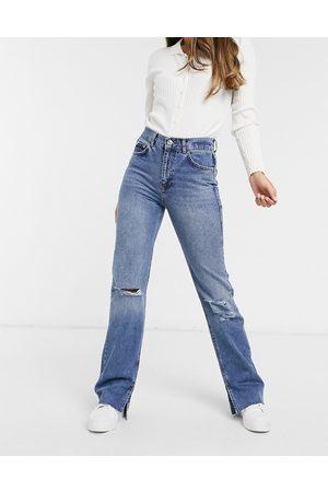 Pull&Bear Jean droit déchiré et fendu style 90s