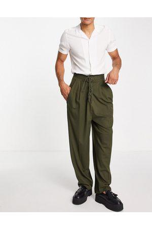 ASOS Pantalon bouffant habillé style torsadé - Kaki