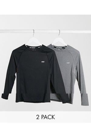 ASOS Lot de 2 t-shirts moulants manches longues à logo emblématique avec système de séchage rapide - Économie