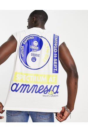 ASOS Débardeur oversize avec imprimé Amnesia Ibiza vintage - Blanc-Neutre