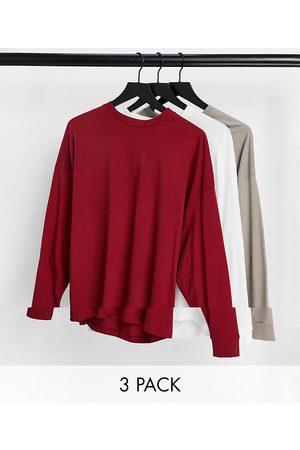 ASOS Lot de 3 t-shirts oversize à manches longues