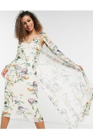 HOPE & IVY Femme Manteaux longs - Ensemble robe nuisette style années 90 et pardessus - sauge clair fleuri