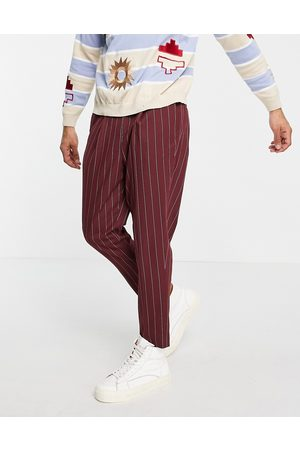 ASOS Homme Chinos - Pantalon fuselé habillé à rayures - Bordeaux