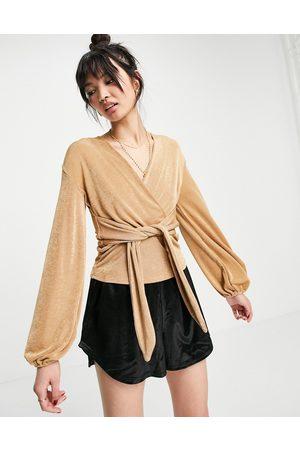 Closet Blouse kimono nouée sur l'avant - Camel