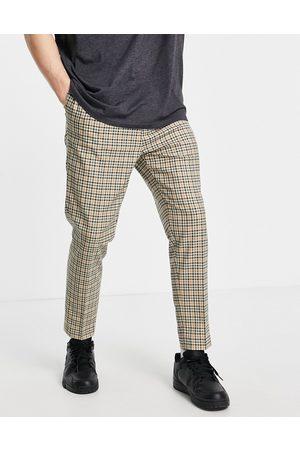 ASOS Pantalon habillé fuselé à carreaux - Taupe-Neutre
