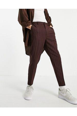 ASOS Pantalon fuselé habillé à rayures - Bordeaux