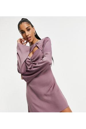 AsYou Robe courte à découpe et fronces - Violet-Neutre