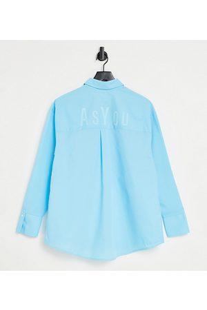 AsYou Femme Chemisiers - Chemise oversize avec logo au dos - Aqua