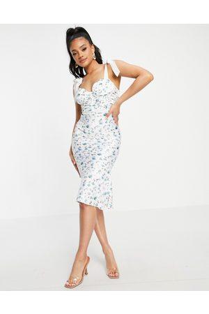 ASOS Femme Robes imprimées - Robe mi-longue en satin froncée style corset avec liens à nouer, laçage au dos et imprimé petites fleurs
