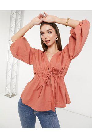 ASOS Top kimono à manches bouffantes noué à la taille - Vieux rose-Pas de couleur