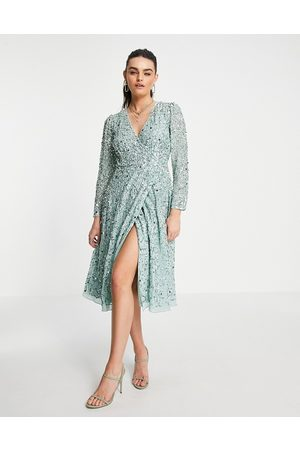 Maya Robe portefeuille mi-longue ornementée - Menthe