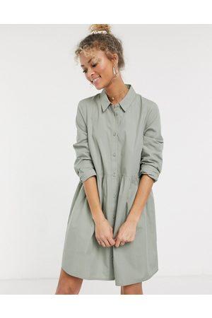 ASOS Robe chemise babydoll courte en coton - Kaki