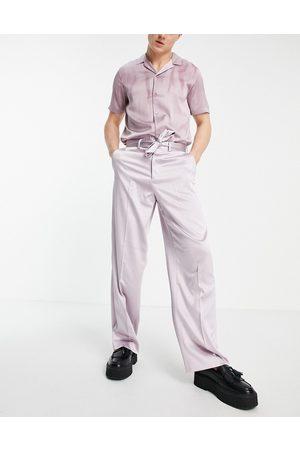 ASOS Pantalon habillé ultra large - Blush satiné