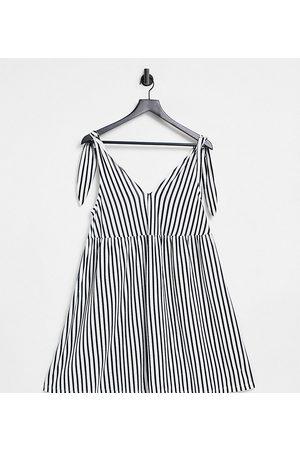 ASOS Femme Robes imprimées - Maternity - Robe courte coupe babydoll nouée aux épaules - Rayures noires et blanches