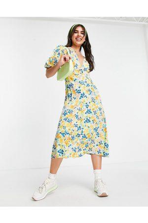 Influence Robe mi-longue à fleurs - Jaune
