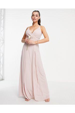 TFNC Robe longue cache-cœur plissée à fines bretelles pour demoiselle d'honneur - Vison