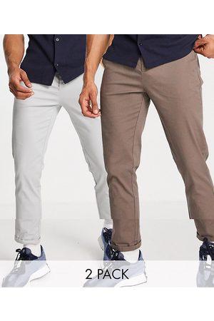 ASOS Lot de 2 pantalons chino skinny - Gris clair et marron
