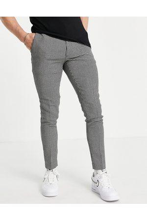 ASOS Pantalon habillé ultra skinny en laine mélangée - à motif pied-de-poule