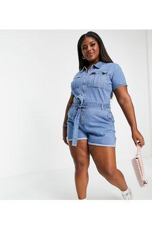 In The Style X Olivia Bowen - Combishort en jean avec col et ceinture - clair délavé