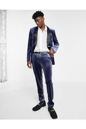 ASOS Pantalon de costume super skinny en velours - marine