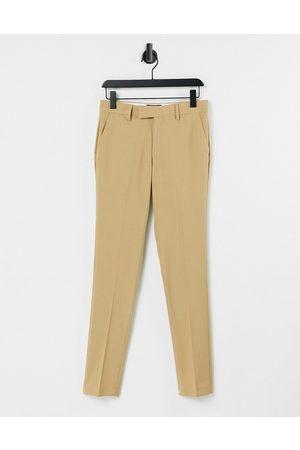 ASOS Wedding - Pantalon de costume ultra slim en tissu micro-texturé - Camel