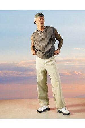 ASOS Pantalon ample côtelé - Beige-Neutre