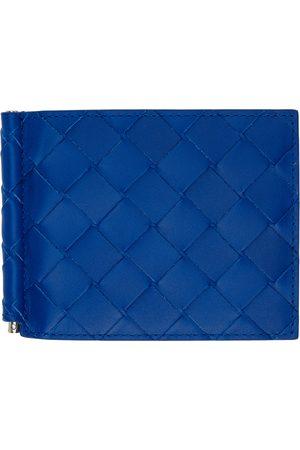 Bottega Veneta Portefeuille à deux volets Intrecciato bleu à pince à billets