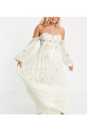 Maya Robe longue style Bardot en tulle à manches longues avec sequins fleuris - Écru