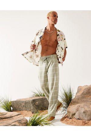ASOS DESIGN Pantalon large en lin mélangé - Carreaux verts