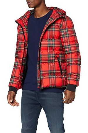 Urban classics Hooded Check Puffer Jacket Blouson, (Red/Black 00869), XX-Large Homme
