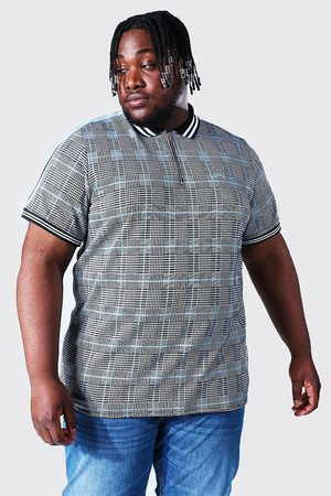 Boohoo Plus Size Man Script Jacquard Polo With Tape Homme
