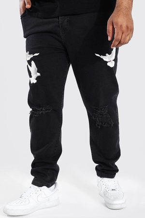 Boohooman Plus Skinny Stretch Stacked Dove Print Jean Homme
