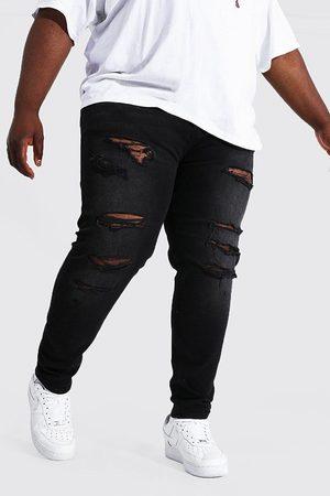 Boohoo Plus Skinny Multi Rip Busted Knee Jean Homme