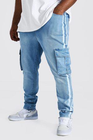 Boohoo Plus Super Skinny Cargo Jean With Side Stripe Homme