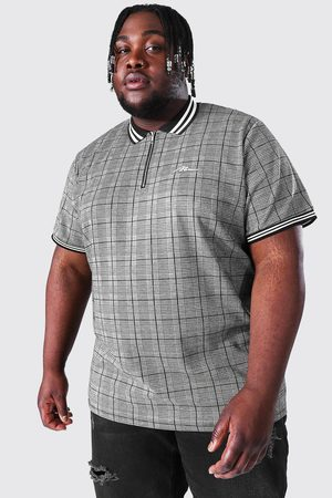 Boohoo Plus Size Man Script Jacquard Tipping Polo Homme