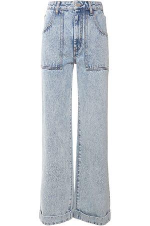 Alessandra Rich Jean Droit En Denim De Coton Taille Haute