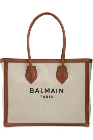 "Balmain Femme Cabas - Sac Cabas En Toile Et Cuir ""b-army 42"""
