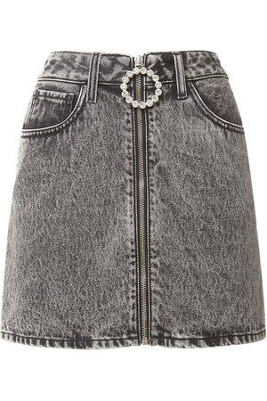 Alessandra Rich Mini-jupe En Denim De Coton Embelli