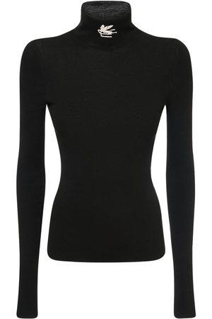 Etro Femme Cols roulés - Wool Knit Logo Turtleneck Sweater