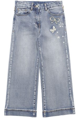 MONNALISA Fille Baggy & Large - Jean Large En De Coton Embelli