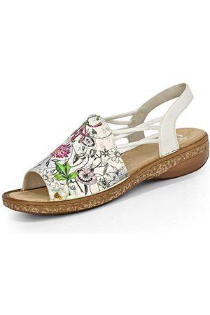 Rieker 628D1 Femme Sandale à lanières,Sandales à lanières,Chaussures d'été,Confortable,Plat,ice-multi/weiss/90,38 EU / 5 UK
