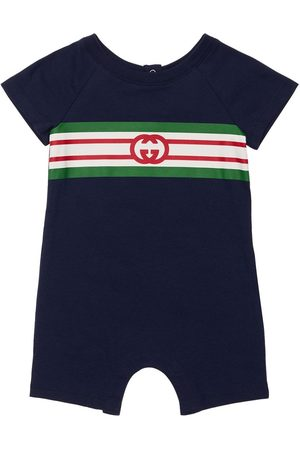 Gucci Barboteuse En Coton Interlock À Logo Gg