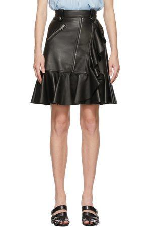 Alexander McQueen Mini-jupe à volants noire en cuir