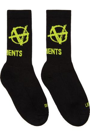 Vetements Chaussettes Anarchy noires et jaunes à logo