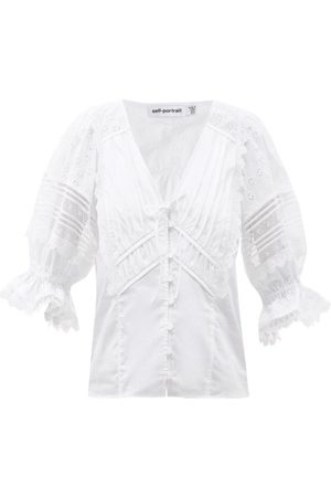 Self-Portrait Femme Tops & T-shirts - Haut en popeline de coton à broderie anglaise