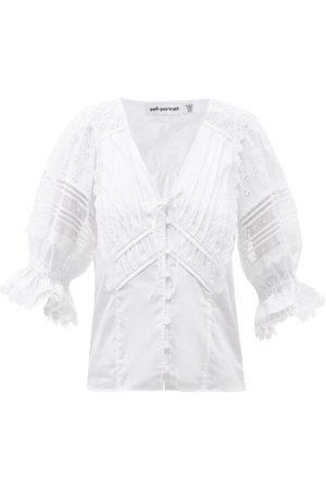 Self-Portrait Tops & T-shirts - Haut en popeline de coton à broderie anglaise