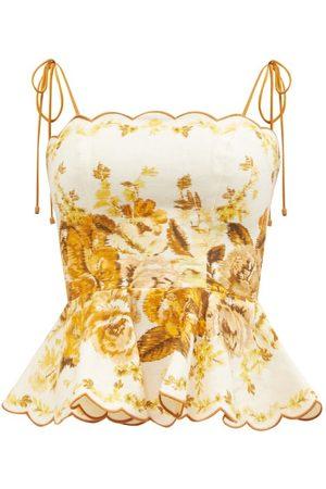 ZIMMERMANN Haut en lin à imprimé floral festonné Aliane