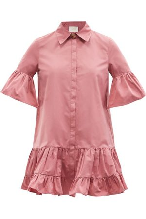 La DoubleJ Femme Robes business - Robe-chemise courte en taffetas volantée Choux