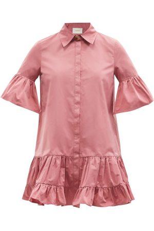 La DoubleJ Robe-chemise courte en taffetas volantée Choux